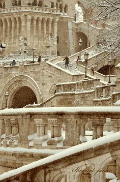 The Fisherman's Bastion stairs of the Danube side - Budapest, Hungary