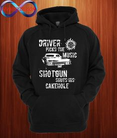 Supernatural Driver Picks The Music Unisex Hoodie Supernatural Fashion, Supernatural Outfits, Supernatural Shirt, Funny Supernatural Memes, Supernatural Imagines, Cool Hoodies, Cool Shirts, Funny Shirts, Cute Outfits For School