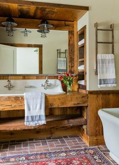 Rustic bathroom vanity is one of the most popular vanity style nowadays. It will not only give more sweet and cozy look, but also gives warmer feeling. 10 Easy DIY Rustic Bathroom designs to copy for your home decor Brick Bathroom, Bathroom Sink Design, Rustic Bathroom Designs, Rustic Bathroom Vanities, Rustic Bathrooms, Bathroom Styling, Bathroom Ideas, Rustic Vanity, Bathroom Rugs