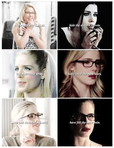 """Felicity Smoak """"The prettiest smiles hide the deepest secrets, the prettiest eyes have cried the most tears and the kindest hearts have felt the most pain. Arrow Felicity, Oliver And Felicity, Felicity Smoak, Stephen Amell Arrow, Arrow Oliver, Team Arrow, Arrow Tv, Arrow Cast, The Flash"""