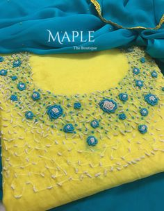 To customize whatsapp 9043230015 for Saree, blou and Kurtis. Embroidery Suits Punjabi, Embroidery On Kurtis, Hand Embroidery Dress, Kurti Embroidery Design, Simple Embroidery, Embroidery Fashion, Ribbon Embroidery, Floral Embroidery, Chudidhar Neck Designs