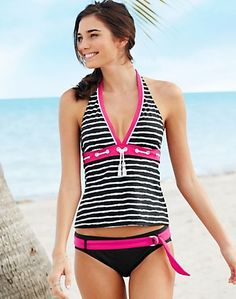 ECO SWIM by Aqua Green Striped Halterkini Two-Piece Swimsuit