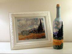 Van Gogh on a bottle! I would not paint Van Gogh, but using a wine bottle as a canvas sounds like a fun idea! Empty Wine Bottles, Wine Bottle Art, Painted Wine Bottles, Wine Bottle Crafts, Bottles And Jars, Glass Bottles, Diy Bottle, Van Gogh, Bottle Painting