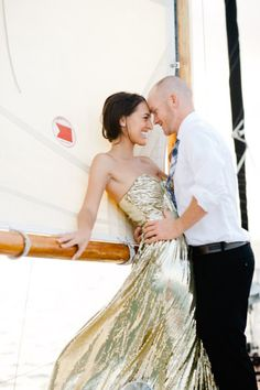 Key Biscayne Engagement session from Katie Lopez Photography - Long Gold Dress: Badgley Mischka via Rent the Runway