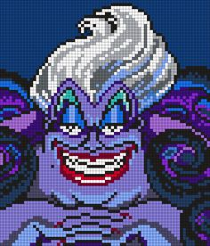 Ursula From The Little Mermaid Perler Bead Pattern / Bead Sprite by maninthebook - Sprite - Ideas of Sprite Kandi Patterns, Pearler Bead Patterns, Perler Patterns, Beading Patterns, Perler Bead Disney, Perler Bead Art, Perler Beads, Beaded Cross Stitch, Cross Stitch Embroidery