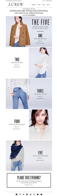 #newsletter J.Crew 10.2014 The Winter Five are here