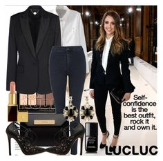 """Suit up by Jessica"" by meliki ❤ liked on Polyvore featuring STELLA McCARTNEY, Topshop, Balenciaga, Tom Ford and Chanel"