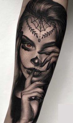 Chicanas Tattoo, Skull Girl Tattoo, Girl Face Tattoo, Girl Arm Tattoos, Alien Tattoo, Head Tattoos, Finger Tattoos, Love Tattoos, Beautiful Tattoos