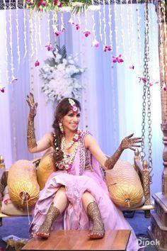Mehandi - The Bride Isha! Photos, Hindu Culture, Beige Color, Decoration, Bridal Makeup, Flower Jewellery pictures, images, vendor credits - Orana Hotels and Resorts, WeddingPlz