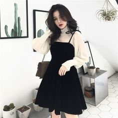 Korean Dress, Korean Outfits, Mode Outfits, Dress Outfits, Teen Outfits, Fashion Dresses, Korean Ootd, Winter Outfits, Summer Outfits