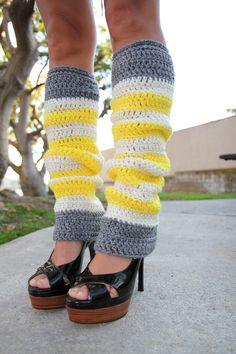 Crochet Leg Warmers in Bananas and Cream Stripes