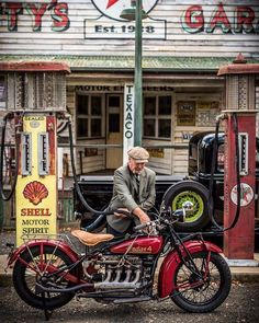 A red vintage motorcycle