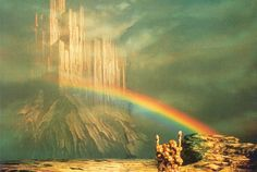 The rainbow bridge (Bifrost) connecting Asgard to Earth (Norse Mythology)