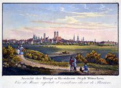 """MÜNCHEN. """"Ansicht der Haupt u. Residenz Stadt München"""". Gesamtansicht.: - Peter Bierl Buch- & Kunstantiquariat"""