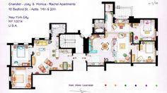 Artista recriou plantas dos apartamentos dos personagens da série Friends