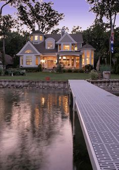 "1 st Place - Traditional Architecture (under sf) ""Cape-Cod-inspired lake home. Great design ideas for future vacation home. Future House, My House, House On A Lake, Beach House, Haus Am See, Architecture Design, House Goals, Nantucket, My Dream Home"