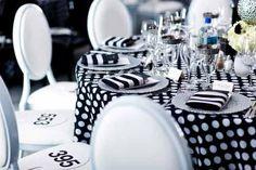 black and white theme party decor