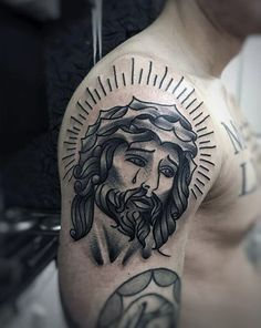 Old School Traditional Jesus Tattoo For Men On Upper Arm