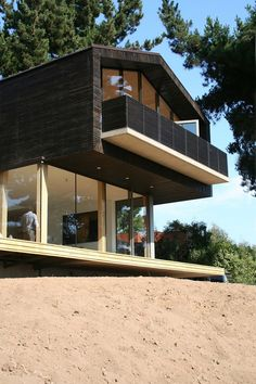 Exterior clad in glass and wood