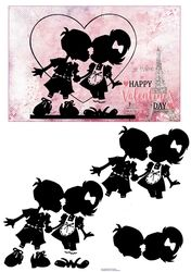 """Two silhouettes of a boy and girl kissing. A pink background with a heart and the Eiffel Tower in Paris. Decoupage the figures. On the card it says """"Happy Valentines Day"""" Paris Eiffel Tower, Happy Valentines Day, Boy Or Girl, Decoupage, Minnie Mouse, Card Making, Card Designs, Kissing, Disney Characters"""