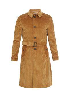 PRADA Single-Breasted Corduroy Overcoat. #prada #cloth #overcoat