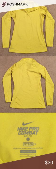 Nike Pro Combat Workout Long Sleeve Shirt Therma-Fit, Fitted, Bright Yellow. Has holes for thumbs at the end of the sleeves! Nike Tops