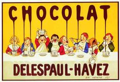 Advertising poster ''Chocolate Dripping Children'', Art Print Reproduction