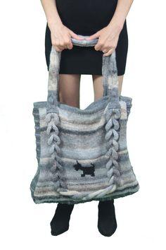 EN vente tricoté grand sac gris-bleu avec par TheFrenchYarn sur Etsy