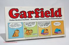 Garfield the Cat Board Game from Parker Brothers 1978. It is COMPLETE with all four pawns, both dice, all 10 plastic rings, all 17 player cards, all 15 Garfield Cards, box liner tray, box liner with instructions on it, board and box. The box looks nice with light shelf wear on the corners, all corners are intact with no tears or tape. The cards all look good and lay flat, all the pieces look good, the liners are nice. The board has a slight wave in it, overall it looks good.
