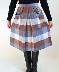 Sale  1970s Gray Brown Cream Wool Skirt Mad Men by gogovintage, $28.00