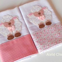 Kit Fraldinhas de boca - Ovelha Baby Diy Projects, Baby Crafts, Diy And Crafts, Baby Sewing, Burp Cloths, Baby Boy Outfits, Applique, Patches, Baby Shower