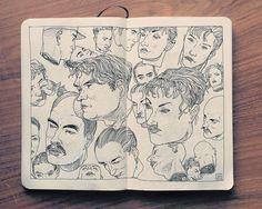 Illustration de nombreux portrait sur un sketchbook par l'illustrateur Suisse Jared Muralt