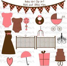 INSTANT DOWNLOAD - Baby Girl Clip Art - Scrapbooking, Invitations