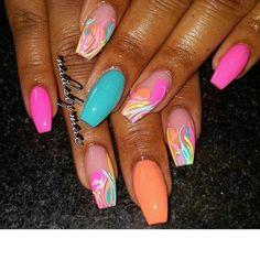 160 nails design summer 2019 - page 40 of 160 44 Glam Nails, Hot Nails, Fancy Nails, Pink Nails, Hair And Nails, Bright Summer Acrylic Nails, Best Acrylic Nails, Acrylic Nail Designs, Summer Nails