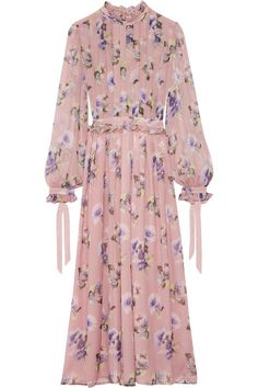 MSGM - Pleated Floral-print Silk-chiffon Gown - Pastel pink - IT48