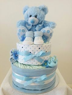 Nappy Cakes by Emma, Two Tier Baby Boy Nappy Cake, Blue, White, Booties, Brisbane, Sydney, Melbourne, Baby Gifts
