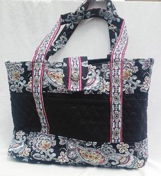 Black and flower patterned Quilted Fabric by FindUrHappyPlace, $40.00