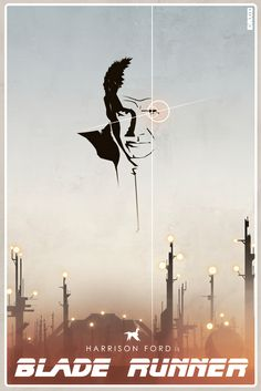 Movie posters by Cakes and Comics. Harrison Ford is Blade Runner Blade Runner Poster, Blade Runner Art, Blade Runner 2049, Movie Poster Art, Film Posters, Cinema Posters, Nerd, Alternative Movie Posters, Minimalist Poster