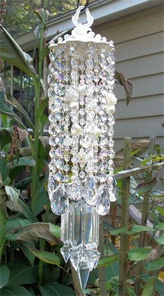 Beautiful ~  Pink Cream Antique Crystal Wind Chime