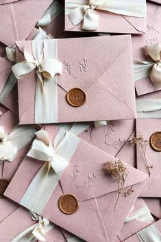 Dusty pink wedding invitations on handmade paper envelopes embossed with . - Dusty pink wedding invitations on handmade paper envelopes embossed silk ribbon and custom wax seal - Wedding Invitation Video, Country Wedding Invitations, Handmade Wedding Invitations, Pink Invitations, Watercolor Wedding Invitations, Elegant Wedding Invitations, Wedding Stationery, Invitation Kits, Invites