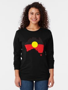 """""""Aboriginal Flag In Australia Map #1"""" T-shirt by SalahBlt 