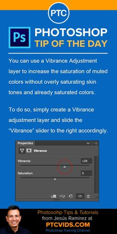Photoshop tip of the day You can use a vibrance adjustment layer to increase the saturation of muted colors without overly saturating skin tones and already saturated colors Photoshop Tutorial, Adobe Photoshop, Photoshop Elements, Photoshop Actions, Advanced Photoshop, Learn Photoshop, Nikon D5200, Dslr Nikon, Wild Photography