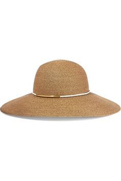 EUGENIA KIM | Honey faux leather-trimmed straw sunhat