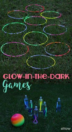DIY Glow-in-the-Dark Games Super fun games to play outdoors on cool nights! Glow sticks are a really Yard Games For Kids, Outdoor Games For Kids, Camping Games For Kids, Indoor Games, Outdoor Toys, Outdoor Camping, Outside Party Games, Outdoor Drinking Games, Outside Games For Kids