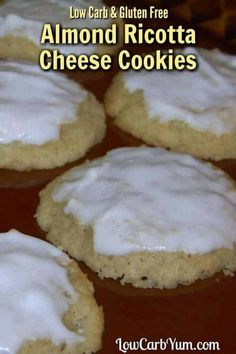 Almond Ricotta Cheese Cookies – Gluten Free Delicious almond ricotta cheese cookies with a sugar free almond paste on top. Perfect gluten free cookies for the holidays or just a yummy keto snack! Ricotta Cheese Cookies, Cheese Cookies Recipe, Cookie Recipes, Snack Recipes, Low Carb Recipe With Ricotta Cheese, Keto Snacks, Diet Recipes, Candy Recipes, Soup Recipes