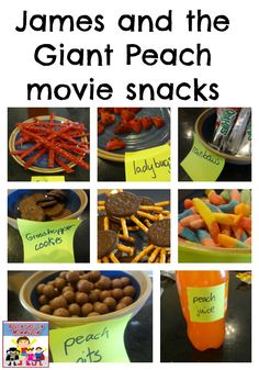 James and the Giant Peach movie snacks Roald Dahl Activities, Book Activities, Bfg Movie, Disney Family Movies, James And Giant Peach, Peach Party, Peach Juice, Dinner And A Movie, Holiday Crafts For Kids