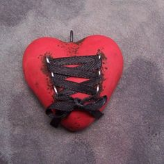 Red Heart pendant with Corset ribbon by CovingtonCreations on Etsy, $10.00