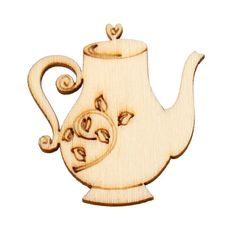 10 Pieces Teapot Die Cut Wood Christmas Ornament by BellasNotions