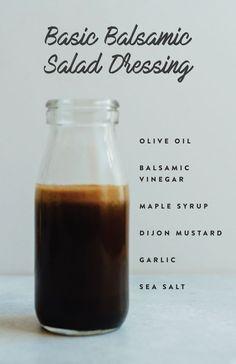 Programme du régime   :     Vinaigrette Basic Balsamic Salad avec vinaigre balsamique à l'huile d'olive, sirop d'érable, moutarde, ail et sel.  - #PerdreDePoids