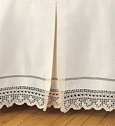 This is gorgeous bed skirt with chevron pattern crochet trim Cute Bedding, Linen Bedding, Comforter, Master Bedroom Redo, Beige Bed Linen, Cama Box, Crochet Bedspread, Shabby Chic Bedrooms, Linens And Lace